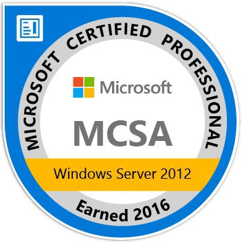 MCSA Windows Server 2012 earned 2016