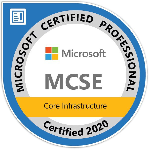 MCSE Core Infrastructure Certified2020